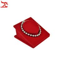 غرامة المخملية عرض المجوهرات برج أحمر سوار حامل سلسلة الإسورة مقعد خلخال اليشم الخرزة سلسلة التخزين المنظم عرض موقف 8.5 * 8.5 * 5 سنتيمتر