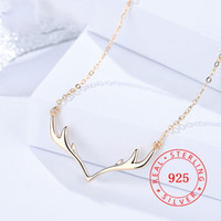 DA814 100% S925 sterling sliver Deer Antler Necklaces Jewelr...