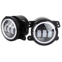 지프 랭글러에 대 한 4inch 60W 6000LM 안개 램프 JK LED 안개등 2pcs 헤일로 화이트 DRL + 앰버 방향 신호