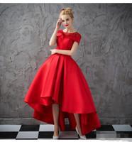 Vestidos de fiesta con escote en V Alto bajo V 2019 Delantero Rojo Corto Largo Largo de espalda Vestido formal Sin mangas Fiesta elegante Vestidos de noche Vestido de fiesta
