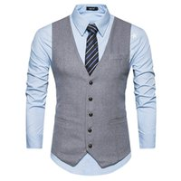 Men Vests Suit V- neck Business Vest Wedding Formal gilet hom...