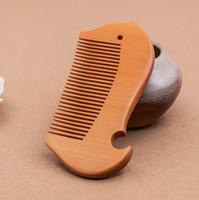 Stampa logo Naturale Peach Pettine per legno Chiudi Denti Dei Capelli Pennello Massaggio Barba Pettini Pocket Psks A398