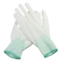 12pairs white palm PU guanti di sicurezza rivestiti di lavoro guanti di poliestere anti-statici di nylon bianco sicurezza sul posto di lavoro all'ingrosso