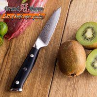 GRANDSHARP 3.5 '' Damascus Couteau d'Office Japonais en acier Damas VG10 Couteau Couteau de Cuisine Peeling Fruit Haute Carbone
