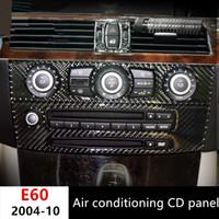 BMW 5 시리즈 E60 2004-10 탄소 섬유 자동차 스타일링 콘솔 에어 컨디셔닝 CD 패널 장식 커버 트림 2 개