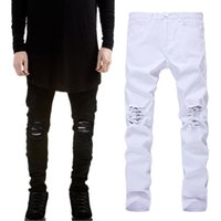 New Brand Men' s Ripped Skinny Biker Jeans Distressed Fr...