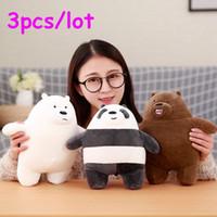 3 pçslote 30 cm Kawaii Nós Negrito Ursos Brinquedo De Pelúcia Urso Dos Desenhos Animados Recheado Grizzly Cinza Urso Branco Panda Boneca Crianças Amor Presente de Aniversário LA028