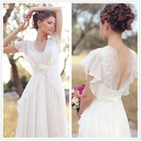 2018 Country Boho Wedding Dress Lace Chiffon Floor Length Sw...