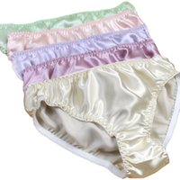 seda pura Calcinhas sólidas para Mulheres Mid cintura Glossy 100% Mulberry Silk Plus Size Briefs Underwear