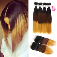 Brazilian Ombre Straight Hair Bundles with Closure 3 Tone Bl...