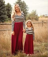 Mother daughter dresse Family Matching clothes Striped Long ...