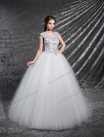 Grace White Tulle Scoop Applique Beads A- Line Wedding Dresse...