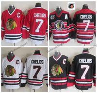 Męskie 1992 Vintage Chris Chelios Chelios Chicago Blackhawks Hokej Koszulki 75. Czarny Dom Czerwony Klasyczny Biały 7 Chris Chelios Koszulki C