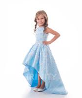 Bella cielo blu satinato gioiello di applique flower girl abiti vestiti da passeggio per ragazze abiti vacanze / abito da compleanno / gonna formato personalizzato Dimensione 2-14 DF710343