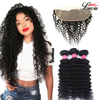 Peruvian Deep Wave Bundles With Frontal Ear To Ear Lace Fron...