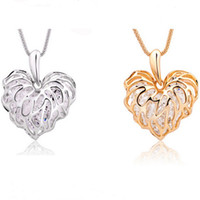 Hollow Out Love Leaves Pendant Shining Zircon Long Sweater C...