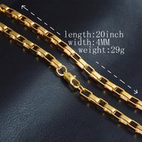 Mens Gold Chain Necklace 6MM Long Necklace for Men 20 inch G...
