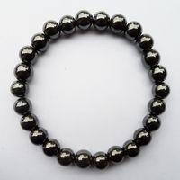 Fábrica atacado de alta qualidade homem mulher saúde 8 MM preto magnético hematita holograma pulseira jóias presente Com elasticidade