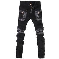 Venta al por mayor de estilo coreano cool moda Mens punk pantalones con cremalleras de cuero de color negro Tight skenny más el tamaño 33 34 36 pantalones de Rock