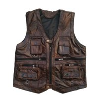 Vest Mens Leather Waistcoat Real Leather Motorcycle Vest Wit...