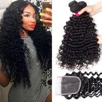 9A Brésilien Human Hair Bundles Tissu avec fermeture 4x4 Fermeture de dentelle 100% Virgin Brésilien Péruvien Malaisien Indian Vierge Cheveux humains