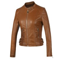 New 2018 Women' s Winter Autumn Brown bomber motorcycle ...