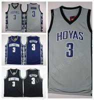 جورج تاون هيواس كلية الفانيلة أسود أزرق رمادي مخيط كرة السلة 3 ألين إيفرسون جيرسي الرجال الرياضة بالجملة بأقل سعر
