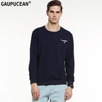 Genuino Gaupucean hombre algodón de alta calidad O-cuello sólido azul marino gris blanco redondo cuello Casual manga larga hombres sudadera