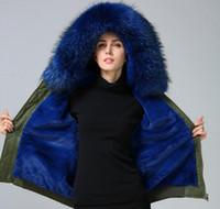 Meifeng marca azul pele guarnição 100% azul forro de pele de coelho exército verde bombardeiro jaquetas de nylon à prova d 'água inverno parkas de pele de inverno mulheres casacos de neve