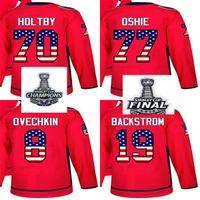 2018 بطل كأس ستانلي رجال نساء واشنطن كابيتال الولايات المتحدة الأمريكية العلم تي. Oshie Alex Ovechkin Braden Holtby Nicklas Backstrom Hockey Shirts