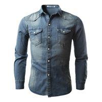 2018 горячие продажи модный стиль мужские джинсы рубашки повседневная Slim Fit стильный длинным рукавом промывают мужской твердые джинсовые рубашки топы