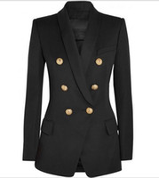 di Premium di nuovo stile superiore delle donne di disegno originale doppiopetto Slim Metal Jacket Buckles Blazer Retro collo a scialle Outwear 3 colori