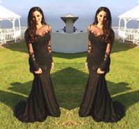 Robe de soirée sexy arabe Jewel cou illusion dentelle noire perles en cristal Appliques sirène manches longues robes de bal Parti formel DH4041