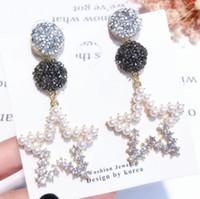 المجوهرات S925sterling الأقراط الفضية الإبرة للنساء الخماسية eearrings نجمة الكريستال الأزياء الساخن خالية من الشحن
