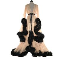 Vestido largo largo con encaje atractivo ver a través de malla de fluffy feather vestido largo de manga de la llamarada Party Club Vestidos largos