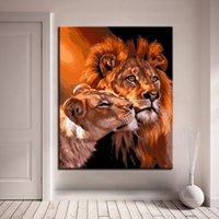DIY Painting By Numbers Kits Drawing Canvas Lions Oil Pictur...