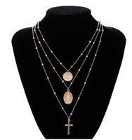 Madonna Cross Ожерелье Серебряное Золото Мадонна Многослойные Колье Ожерелье Подвески Мода Ювелирные Изделия для Женщин Многослойные Ожерелья