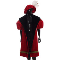 Escudo retro estilo retro de Europa, traje de Henry VIII Men Kings Kings Red Cloak Cape con sombrero