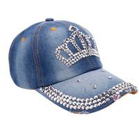 Cool stylish summer Outdoor Cap Women Men Spring Crown Denim Rhinestone Baseball Cap Snapback Hip Hop Flat Hat #0604