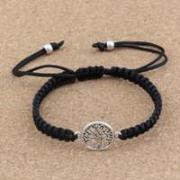 10pcs nouveaux hommes et femmes mode antique argent alliage arbre de vie charme noir ligne de noeud chinois pure tissé à la main réglable Bracelet