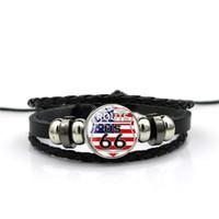 Nuovi uomini delle donne in pelle nera USA Route 66 segni braccialetti di fascino braccialetto gioielli gemma tempo cartone animato spedizione gratuita