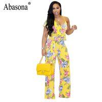 Abasona Femmes Imprimé Floral Boho Beach Combinaisons Sexy Strap Une Épaule Jambe Large Jambes Barboteuses À Manches Volants Ceintures D'été Combinaisons