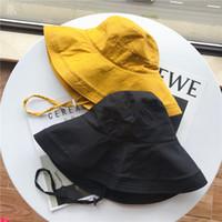 Mode coton et lin anti-UV couleur solide grosse chapeau de pêcheur femme casual simultané chapeau de chapeau de soleil