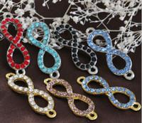 33x11mm 100 pcs Ouro cristal prateado Metal Infinito / oito 8 Conector Charme Beads DIY acessórios fazendo Pulseira