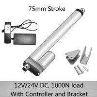 DC 24 V 75mm curso atuador linear com 1 para 1 controlador remoto e suportes de montagem 1000N / 100kgs carga 10mm / s velocidade à prova d 'água