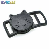 """100pcs / lot 3/8 """"(10mm) en plastique courbé tête de chat Safty Breakaway Buckle Black Cat collier Paracord sangle vêtements Accessoires"""