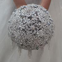Matrimonio grigio cristallo strass spilla sposa bouquet da sposa in raso fiore 18 cm 2018 nuove forniture di nozze di arrivo