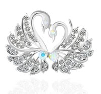 Lindo Crystal Swan Broche Pins Silver Color Lovers Animal Rhinestones Broches para Mujeres Wedding Scarf Jewelry Vintage Solapel Pins