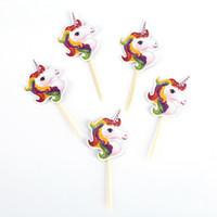 Torta de unicornio Cupcake Topper Toothpick Happy Birthday Illustration Bebés y niños Kids Decoración de fiesta portátil Ornamento Supplies 1 8yn bb