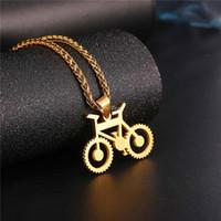Bisiklet Kolye Siyah Renk Paslanmaz Çelik Bisiklet Kolye Zincir Erkekler Için / Kadınlar Sıcak Moda Takı Hippi Kaya